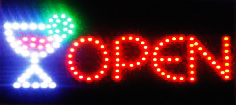 LED Neon Light Animated Wine Beer Bottle Open Sign B146