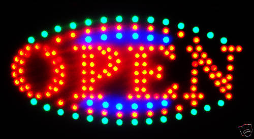 LED Neon Light Animated Motion OPEN Business Sign B161