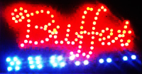 LED Neon Light Animated BUFFET Open Business Sign B19