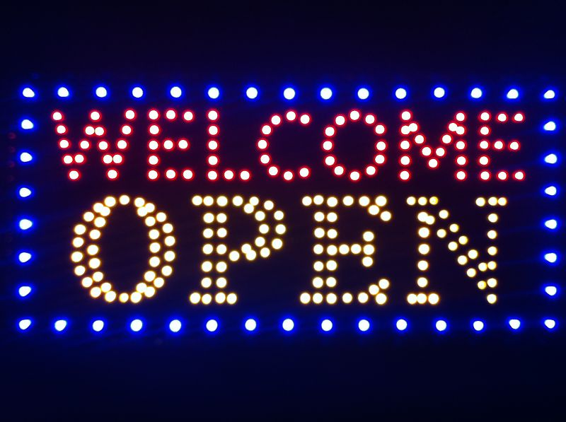 LED Neon Light Animated WelCome OPEN Business Sign J08