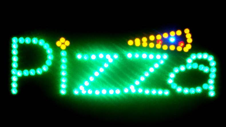 LED Neon Light Animated Hot Pizza Slice Open Sign LB144