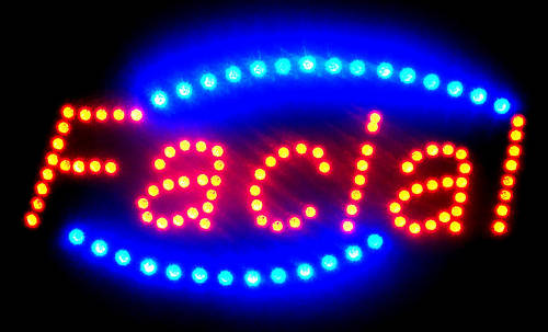 LED Neon Light Animated FACIAL OPEN Business Sign LB235