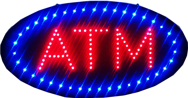 Ultra Bright LED Neon Light Animated OVAL Style ATM Sign S86
