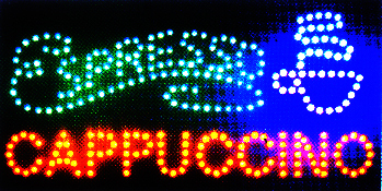 LED Neon Light Animated Coffee Espresso Cappuccino sign L45