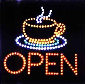 LED Neon Animated Java Coffee Tea Cup Open Sign L75