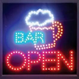 Ultra Bright LED Neon Animated Wine BAR Cocktail Open Sign L84 - Click Image to Close