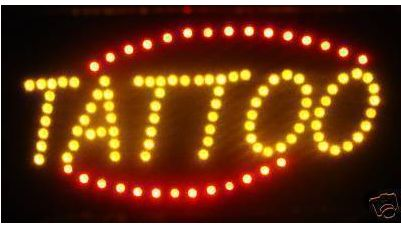 LED Neon Light Animated Motion TATTOO Open Sign LB234